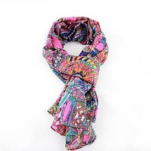 Нежный весенний шифоновый шарфик с ярким и оригинальным принтом