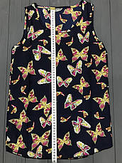 Легкая летняя синяя блузка с принтом (без рукавов), S на XS, фото 3
