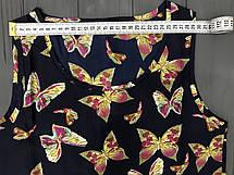 Легкая летняя синяя блузка с принтом (без рукавов), S на XS, фото 2