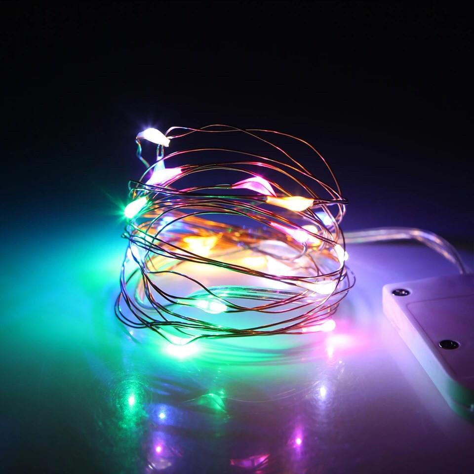 Светодиодная гирлянда на медной проволоке 2м(20 светодиодов), на батарейках (разноцветная)