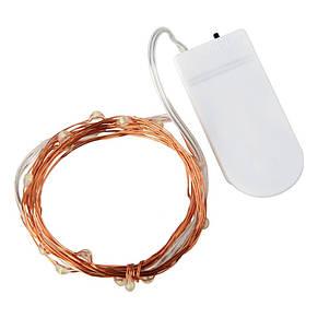 Светодиодная гирлянда на медной проволоке 2м(20 светодиодов), на батарейках (разноцветная), фото 2