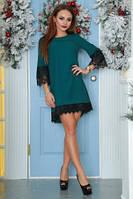 Платье свободного кроя бутылочного цвета с кружевами, платье молодежное красивое, фото 1