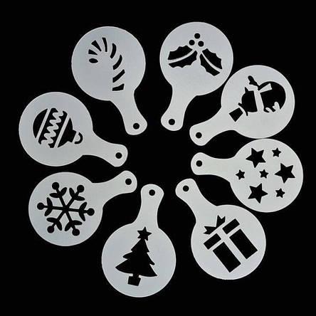 Трафареты для кофе, капучино, десертов ( 8 шт. ), «Новогодние», фото 2