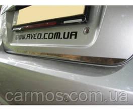 Хром накладка нижней кромки багажника Chevrolet Aveo SD (шевроле авео), нерж.