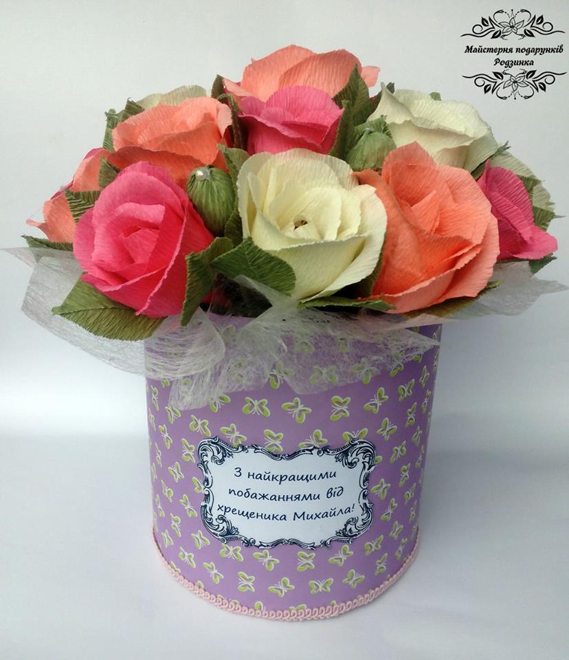 Букет з цукерок Троянди в шляпній коробці.