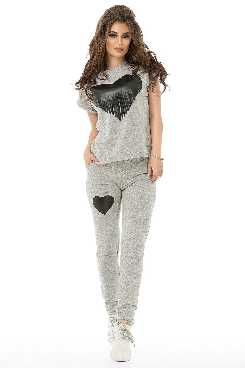 Спортивный костюм женский Сердечко. Ткань : двухнить (Турция), сердечко эко-кожа размеры :С-М,М-Л  3 цвета