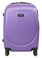 Маленький пластиковый элегантный дорожный чемодан на 4 колесах фирма Wings (сиреневый)