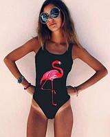 Черный закрытый купальник с фламинго Б-910, фото 1
