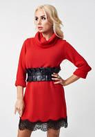 Платье женское красного цвета с широким поясом, платье красивое с кружевами нарядное, фото 1