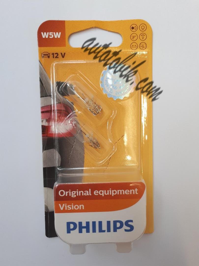 Автомобильная лампочка Philips Vision W5W 12V 5W (2шт blister)