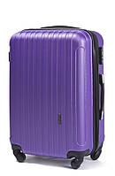 Маленький пластиковый женский дорожный чемодан на 4 колесах фирма Wings (сиреневый)
