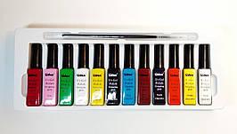Гель-краска для дизайна ногтей Lidan,набор с кисточкой ,12 шт по 8 мл