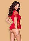 Халат женский короткий полупрозрачный красный со стрингами Obsessive 870, фото 3
