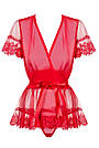 Халат женский короткий полупрозрачный красный со стрингами Obsessive 870, фото 4