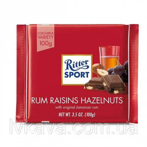 Молочный шоколад  Ritter Sport Rum  trauben nuss , 100 гр