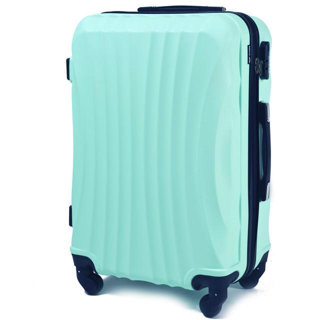 205f227f1615 Маленький голубой дорожный чемодан из поликарбоната на 4 колесах фирма  Wings (голубой)