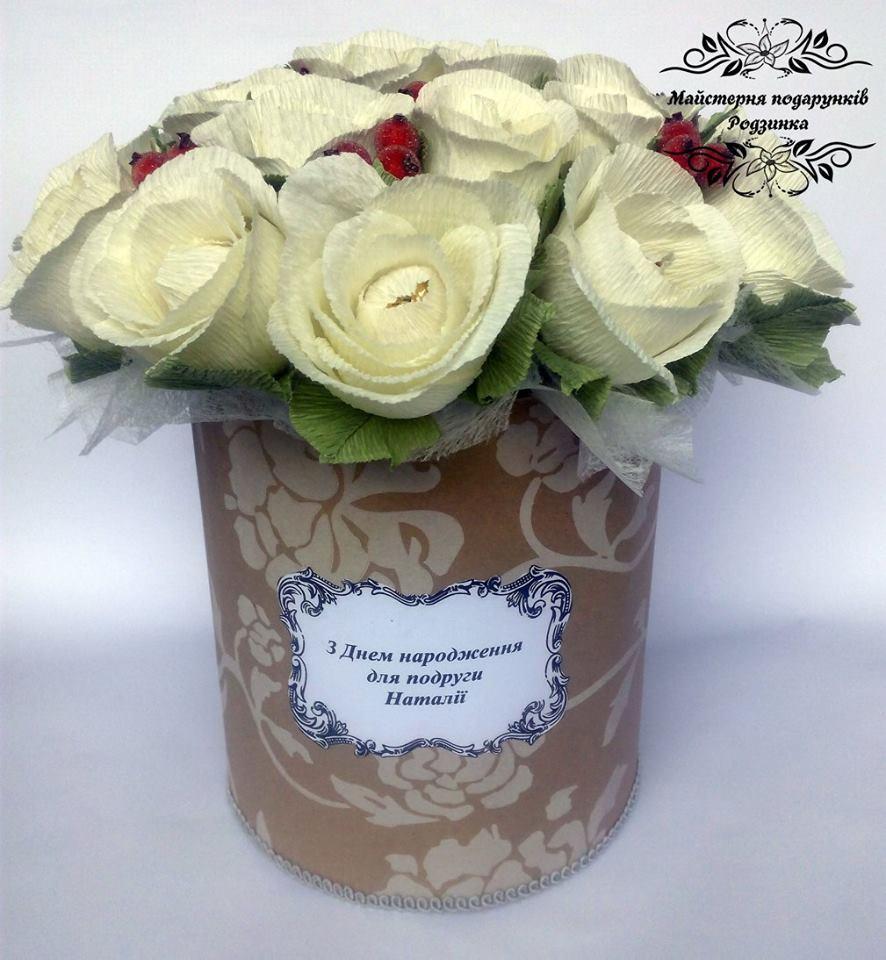 Букет з цукерок Троянди в шляпній коробці