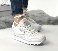Reebok Classic Leather White   женские кроссовки; белые