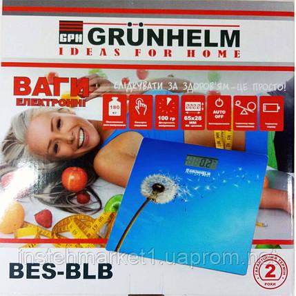 Ваги підлогові Grunhelm BES-BLB 180 кг (Кульбаба з блакитним фоном), фото 2
