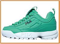 Женские кроссовки Fila & Holypop Disruptor (фила дисраптор 2, бирюзовые / белые)