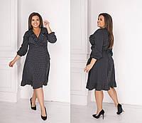 Платье с запахом и воланами батал, фото 1