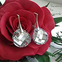 Серебряные серьги с подвесками Сваровски Зеркала