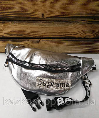 c85e117b0aa1 Большая женская сумка на пояс, бананка, барыжка серебряного цвета, с  надписью Suprame,
