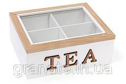 Коробка для чая деревянная (4 отделения) TEA со стеклянной крышкой 20х18х8 см