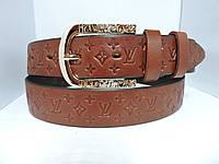 Женский Брючный кожаный ремень 3.5 см Коньяк