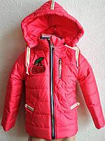 Куртка- парка Оливия красная  для девочки 1-5 года демисезонная , фото 1