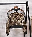 Блуза леопардовая с гипюровыми вставками, фото 3