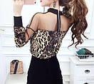 Блуза леопардовая с гипюровыми вставками, фото 5