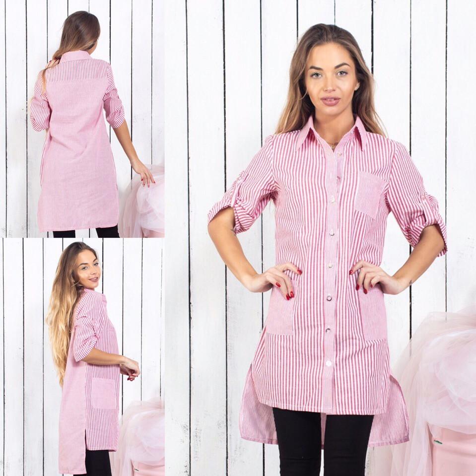 Женская рубашка в полоску / котон / Украина 15-333