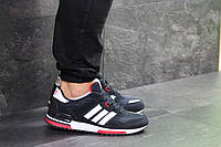 Замшевые мужские кроссовки Adidas ZX 700 повседневные кроссовки в стиле Адидас синие с белой подошвой