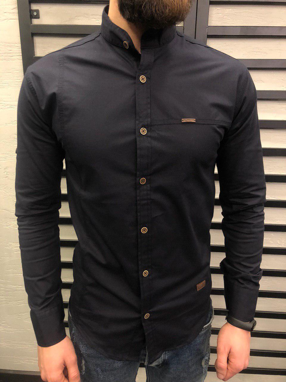 d476a537292 Рубашка приталенная мужская черная с воротником стойка - Интернет-магазин  обуви и одежды KedON в