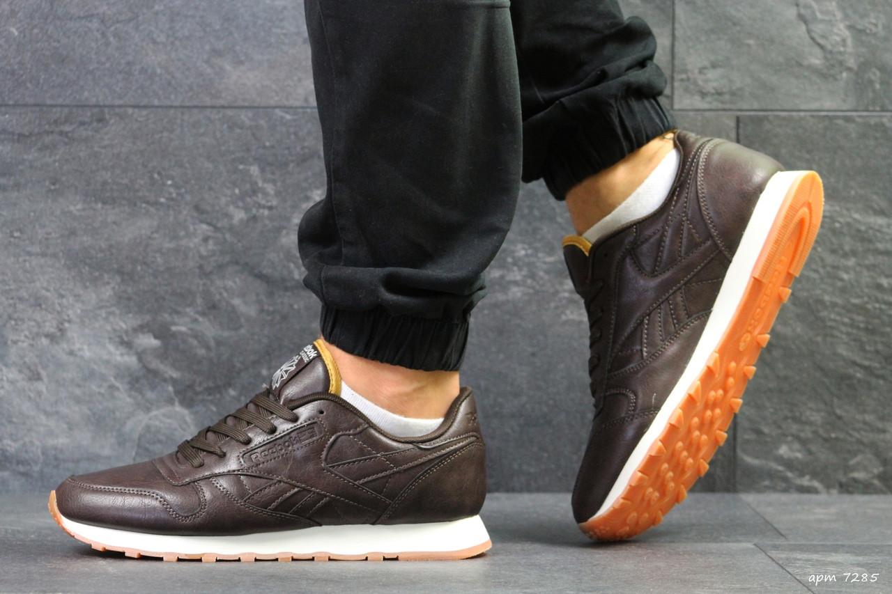 Мужские кроссовки Reebok Classic,кожаные,коричневые