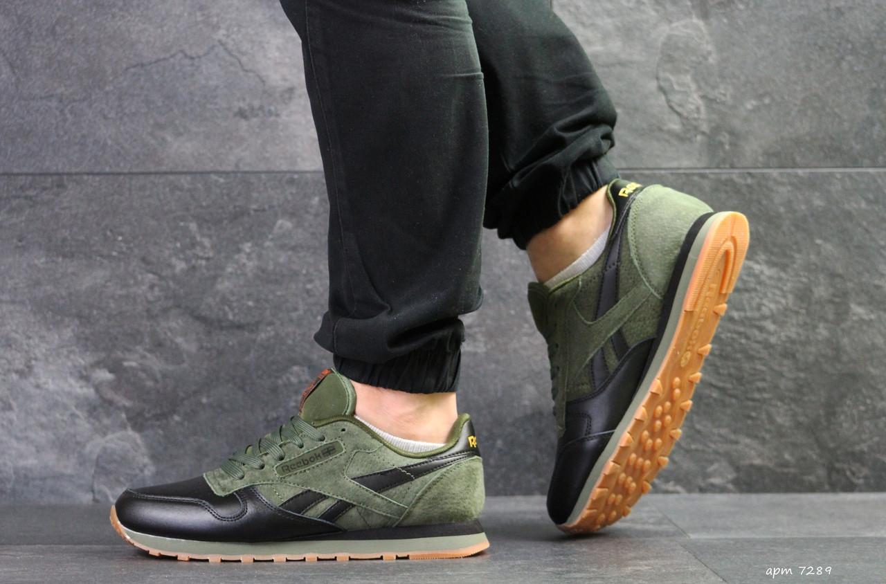 Мужские кроссовки Reebok Classic,черные с зеленым