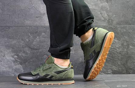 Мужские кроссовки Reebok Classic,черные с зеленым, фото 2