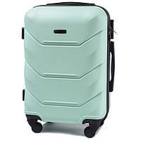 Маленький великолепный дорожный чемодан пластиковый на 4 колесах фирма Wings (мятный)