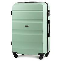 Маленький красивый чемодан (ручная кладь) пластиковый на 4 колесах фирма Wings (мята)