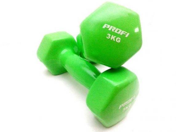 Гантель 3 кг Profi с виниловым покрытием (Зеленый), фото 2