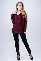 Свитер женский шерстяной Анти 44-52 размер бордовый, фото 1