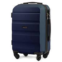 Маленький строгого дизайна чемодан (ручная кладь) пластиковый на 4 колесах фирма Wings (синий)