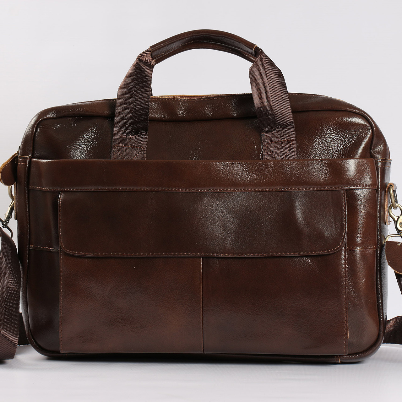 dcdc3eb27f55 Качественный кожаный портфель для ноутбука, деловой коричневый