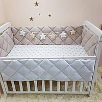 Комплект Маленькая соня Универсальный стандарт защита+простынь детский капучино арт.0700243