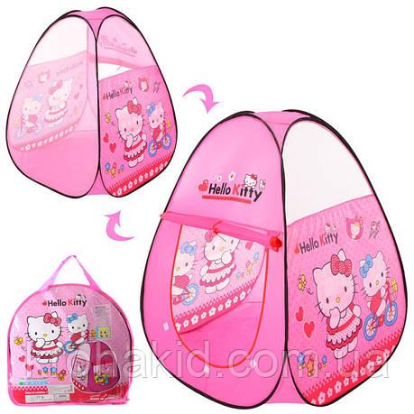 Палатка детская Bambi M 3735 Hello Kitty пирамида, 95-95-112 см, 1 вход на липучке, 2 окна и 1 стор - сетка, фото 2