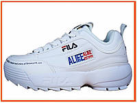 Женские кроссовки Fila X Alife Disruptor 2 White (алиф фила дисраптор 2, белые)