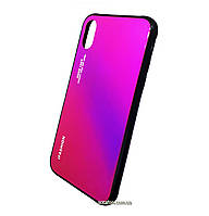 Чехол-накладка TPU+Glass Gradient для iPhone X / Xs Crimson