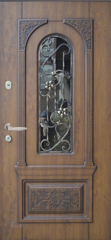 Двери уличные, модель 87 Премиум, 970*2050, коробка 110 мм, объемные элементы, 3D фрезеровка и патина