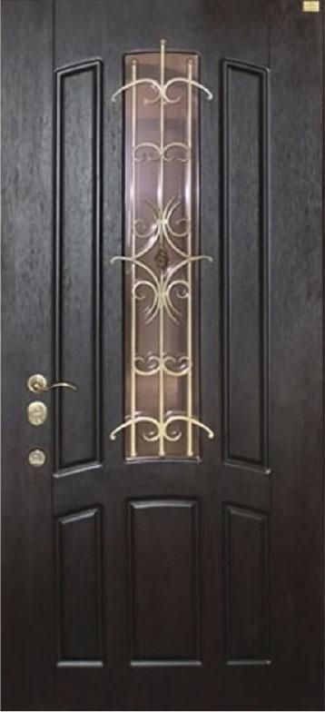 Двери уличные, модель 90 PRESTIGE, 970*2050, коробка 110 мм, KALE, накладки 16 мм, ковка, стеклопакет